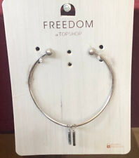 TOPSHOP Freedom New Silver Metal Bracelet Wristband Jewellery RRP £7
