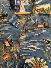 RJC HAWAIIAN SHIRT MENS MEDIUM M BLUE PALM TREES OCEAN FISH