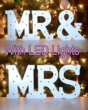 "Large 6"" Mr And Mrs White Wooden Table Sign LED Light Up Wedding Decorations"