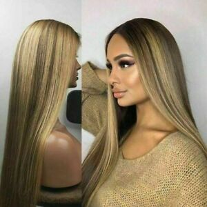 Luxury Lace Front Remy Dark Brown Ash Blonde Highlights Human Hair Wig Balayage
