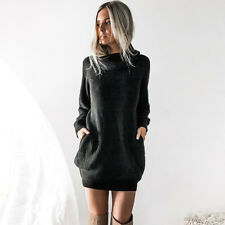 New Women Chunky Knitted Sweater Dress Roll Neck Jumper Shirt Long Tops Knitwear