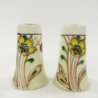 Vintage Salt Pepper Shakers Japan Painted Orange Yellow Floral Gold       INV#55