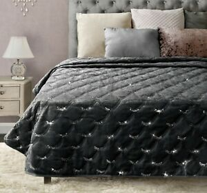 Crushed Velvet Throw Luxury Sparkle Sequin Bed Runner Sofa Throw Cover Silver