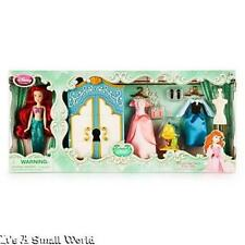 "Disney Store Ariel Mini Doll Wardrobe Play Set 5"" Figure Flounder Dresses NIB"