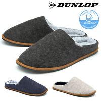 Dunlop Mens Slippers Slip On Mule Faux Fur Lined Felt Memory Foam Sizes 7-12