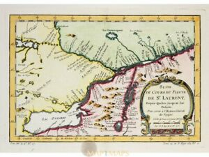 Canada Lake Ontario antique map St. Laurent by Bellin 1757.   North America Maps