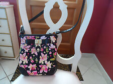 Ladies black crossbody shoulderbag with orchid design