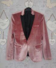 "ASOS Vintage Retro Super Skinny Blazer Jacket In Pink Velvet 40"" Short Prom"
