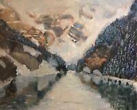 Original Vintage Jeff Barnes 16x20 Oil Painting Landscape Lake Louise Banff NP