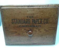 Vintage Wood One Drawer File Box, The Standard Paper Co. Cincinnati