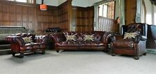 TETRAD OSKAR CONKER BROWN LEATHER CHESTERFIELD SUITE SOFA WINGBACK & CLUB CHAIRS