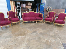 GILDED 5 PC SOFA SET AND ARMCHAIRS - FRENCH LOUIS 15TH REUPHOLSTERED