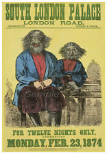 VINTAGE 1874 FREAK SHOW SOUTH LONDON ADVERTISING A3 POSTER PRINT
