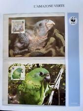 WWF Maximaphilie Lot de 4 cartes-maximum OISEAU AMAZONE VERTE Jamaïque