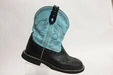 JUSTIN BOOTS Gypsy Black/Blue Sz 8.5 B Women Leather Cowboy Boots
