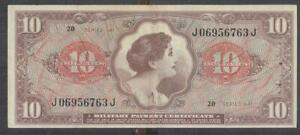 US MPC Military Payment Certificate $10.00 Note series 641 XF