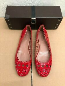 Alaia Red Patent Leather Perforated Cut Out Flats 39.5