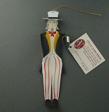 "Edna Oar Young Shadowdancer folk art 6"" ornament Uncle Sam USA tin Christmas"