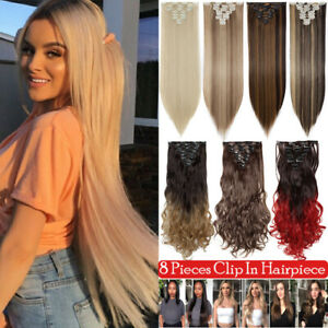 8 PCS Clip In Hair Extensions Real Long Straight Curly Full Head Hair Extentions