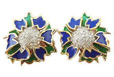 1960s Jomaz Joseph Mazer Pavé Enameled Runway Couture Earrings