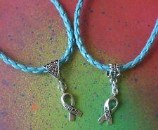Hope Prostate Cancer Awareness Ribbon Charm Blue Leather Charm Bracelet Survivor