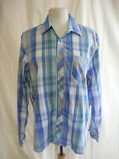 Mens Shirt - Kurt Muller, size L, blue/white/green check, cotton, casual - 7964