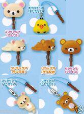KORO Rilakkuma Relax Bear Earphone Jack Figure (set 7 pcs) iPhone Android
