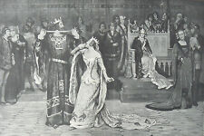1872 - Two Large Antique Prints - The Ceremony of the Garter (1349) & Knighthood