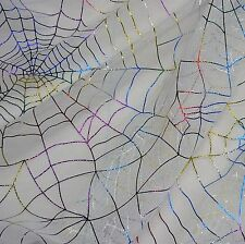 White Tulle Net with Multicoloured Foil Spiderwebs Fabric P/Metre
