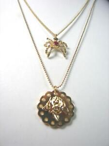 Betsey Johnson Embossed Rose Pendant Red Crystal Spider Gold 2 Chain Necklace