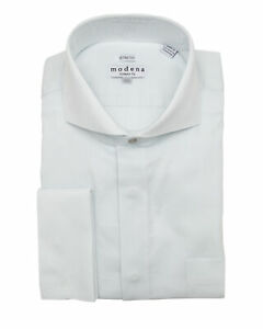Mens Cotton Blend White Cutaway Collar Slim Fit Dress Shirt