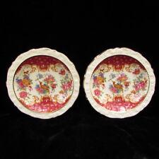 "2 Paragon Rockingham Red Pheasant Vintage 4.75"" Sweet Dish Tea Bag Plate England"