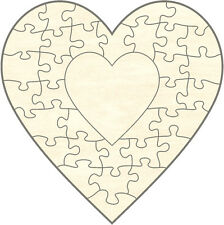 Blanko Holz-Puzzle Herz in Herz, 34 Teile, 60 x 60 cm, zum Selbst Bemalen