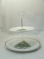 "Salem CHRISTMAS EVE Tree 2 Tier Tidbit Serving Tray 10 1/2"" & 7 1/2"" Plates EUC"