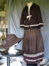 Victorian Dress Women's Edwardian Costume Civil War Style Brown w Hat