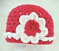 HAND CROCHETED BABY GIRLS RED MERINO HAT XMAS shower gift romany bling vintage