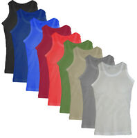 New 3 Pack Mens White Black Airtex Mesh Vests  Cotton Gym Top Summer Training