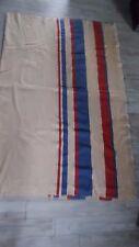 "Vintage Wool Camp Stadium Blanket w/Red & Blue Stripes 51"" x 80"" EUC"