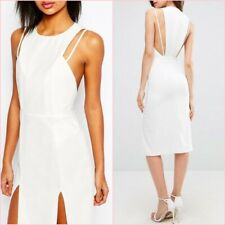 SALE Cream White Double Strap Crepe Pencil Midi Bodycon Dress 6 SMALL 8 UK ❤