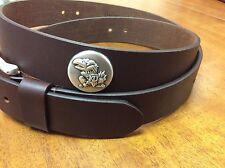 Brown Genuine Leather Belt With Kansas University Ku Jayhawks Conchos 42 Le