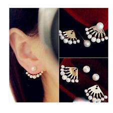 Women's Super Marvellous Front & Back Earrings Pearl Ear Studs Earbobs Ear Clips