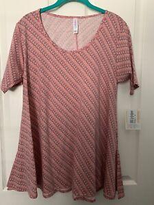 NWT LuLaRoe (S) Perfect T Pink Background w/Gray, Cream Print Cotton Blend