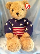 Ty Lg. Curly Gold Bear Patriotic Sweater 9019 P.E. Pellets 1991 Boy Girl 3+ $39
