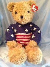Ty Lg. Curly Gold Bear Patriotic Sweater 9019 P.E. Pellets 1991 Boy Girl 3+ $39