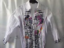 **GELCO**Damen Bluse Hemd Baumwollmischung Crash-Stoff Gr. 40 Weiß Langarm Knopf