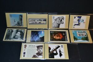 GB phq cards 2006 period x 10 different sets all with stamps on the back & fdi