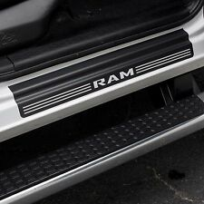 Door Sill Plate Protectors Black Matte fits Dodge Ram Truck 3500 2015 2016 2017