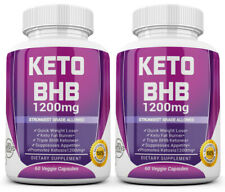 2 X KETO BHB 1200mg PURE Ketone FAT BURNER Weight Loss Diet Pills Ketosis
