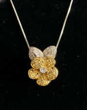 18k Whitle & Yellow Gold Diamond & Yellow Sapphire Flower Slide Pendant Necklace