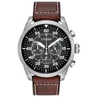 Citizen Eco-Drive Men's Avion Chronograph Brown Leather Strap Watch CA4210-24E